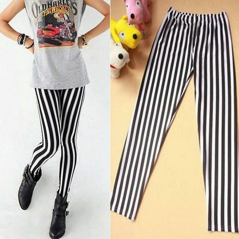 2018 Pure Cotton Womens Striped Leggings Lady Fashion Slim Render Pants Cool Sexy Black White Streak Print Pants Cotton One Size