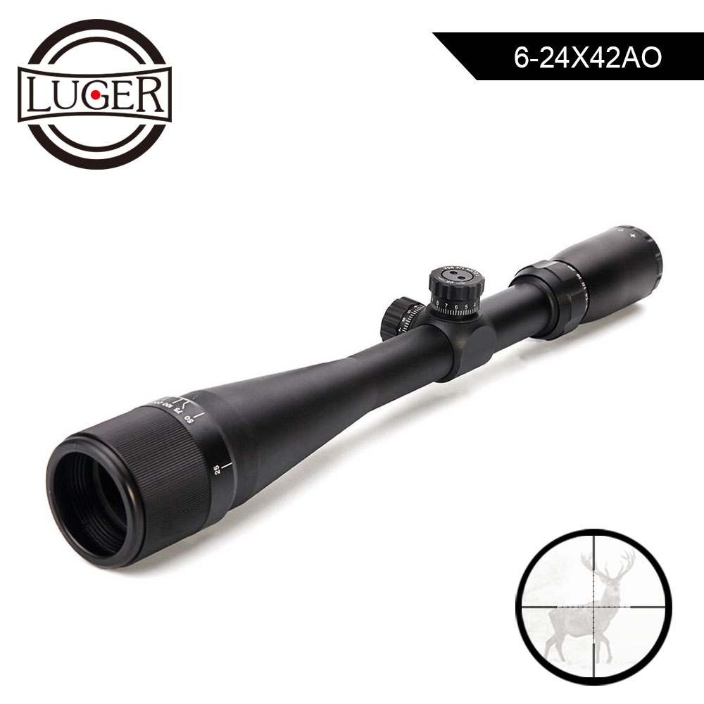 LUGER 6-24X42 AO Hunting Scope Front Parallax Adjust Mil-Dot Reticle Rifle Gun Sight Scopes Outdoor Tactical Gun Riflescope