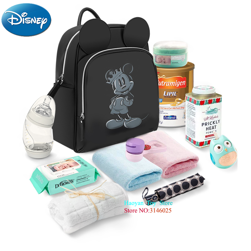 Disney Fashion Insulation Bags Mummy Bag Baby Handbag Bottle Bag Multifunction Large Capacity Double Shoulder Travel