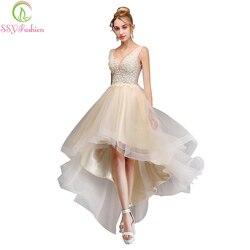 Женское вечернее платье SSYFashion, Ассиметричное платье с треугольным вырезом и открытой спинкой, кружевное цвета шампанского с аппликацией