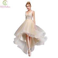 SSYFashion  New Evening Dress Sexy V-neck Backless Champagne Lace Appliques Asymmetrical Party Gown Custom Formal Dresses