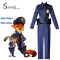 2016 New Zootopia Nick Wilde Judy Hopps Police Unisex Cosplay Costume Full set Free Shipping