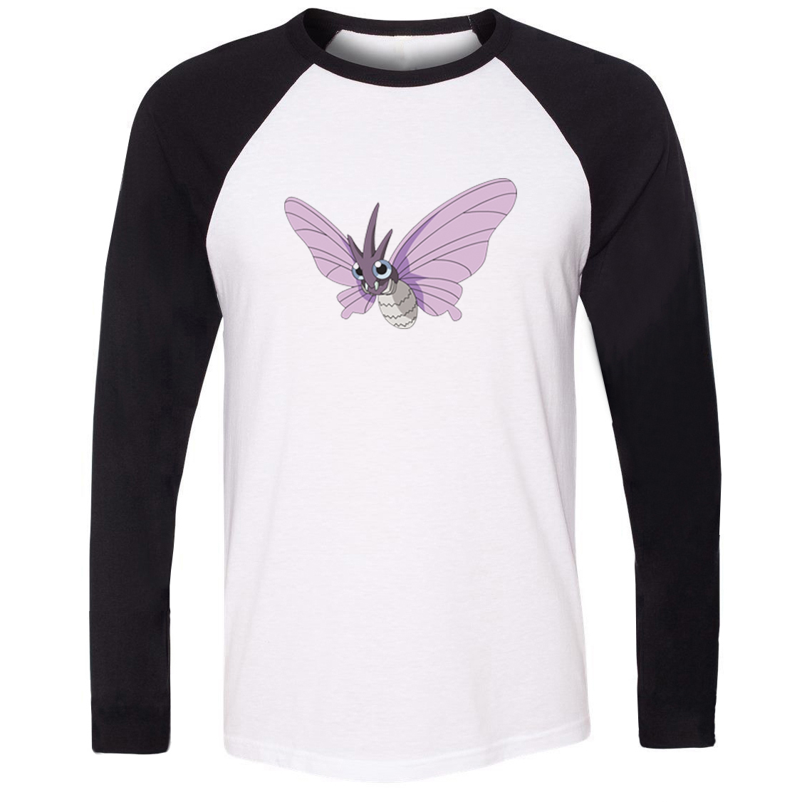 Unisex T-shirt Pokemon National Pokedex 049 Poison Bug Type Venomoth Pattern Raglan Long Sleeve Men T shirt Boy Casual Tee Tops image