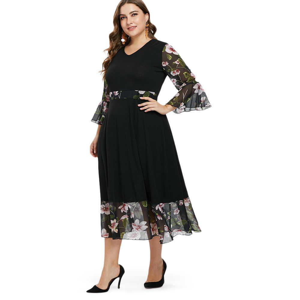 Wipalo плюс Размеры с v-образным вырезом с цветами и с рукавами с воланами Повседневное платье макси свободного кроя и цветочными лепестками, платье трапециевидной формы вечерние платье осеннее женское платье Vestidos