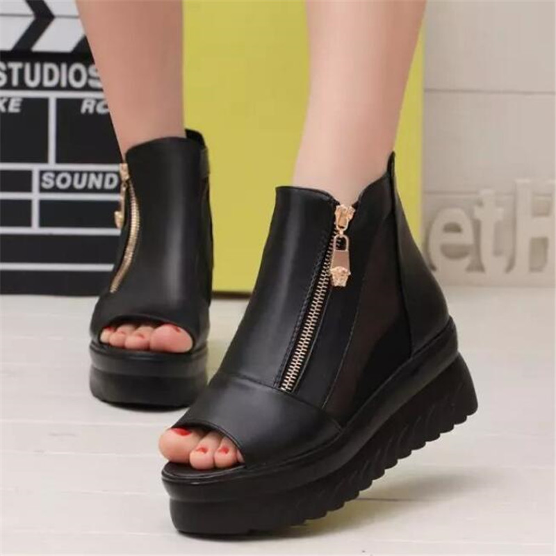Wedge Sandals Comfortable Zipper Popular Fashion Fish-Mouth Casual Wild Elements New-Side