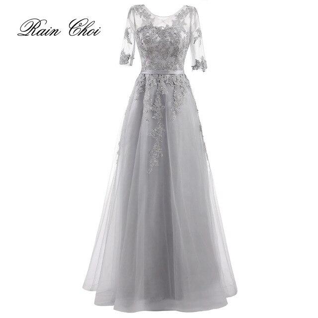 Robe De Soiree 2018 Banquet Elegant Evening Dress Silver Half Sleeve