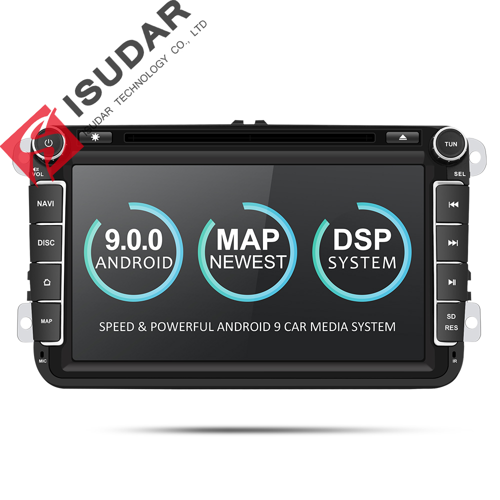 Isudar 2 Din reproductor Multimedia Android 8,1 Radio Auto para Skoda/Seat/Volkswagen/VW/Passat b7/POLO/GOLF 5 6 DVD GPS Quad-core