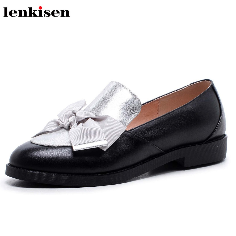 Lenkisen 2018 round toe slip on genuine leather high heels causal shoes simple classic style bowtie high fashion women pumps L26