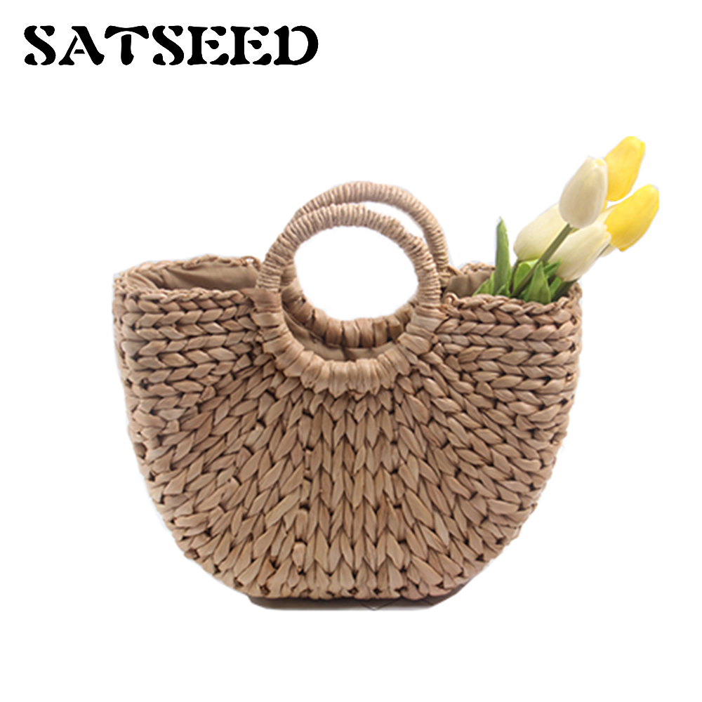 2018 Straw Bag For Women Hangbag Beach Rattan Bag Round Simple Solid Woven Bag ...
