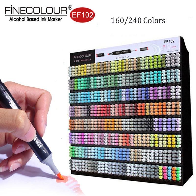 Finecolour EF102 Pennello Pennarelli Artistici 240 Colori Belle e Punta del Pennello Doppio-Ended Marcatori per il Disegno Professionale Manga Premier