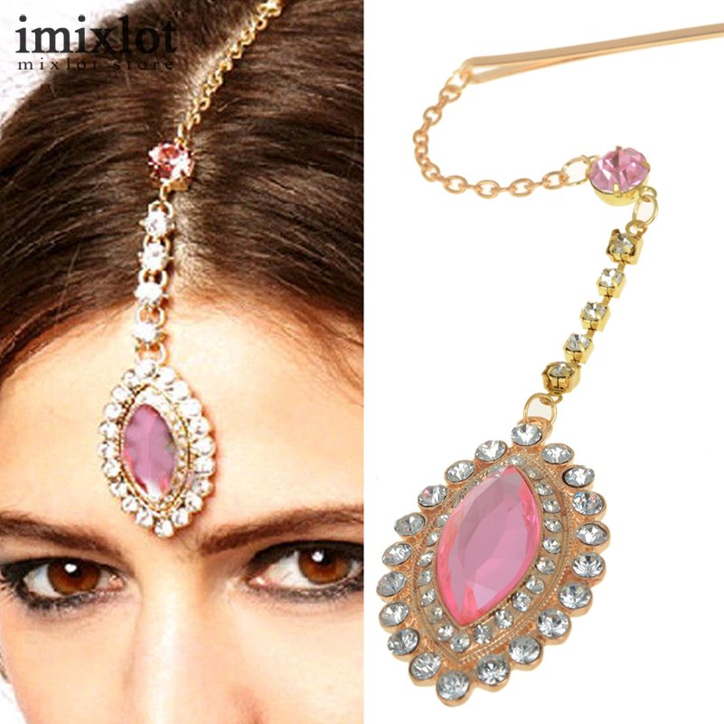 Imixlot Teardrop Pink Crystal Pendant Hairpin Bindi Hair Clip