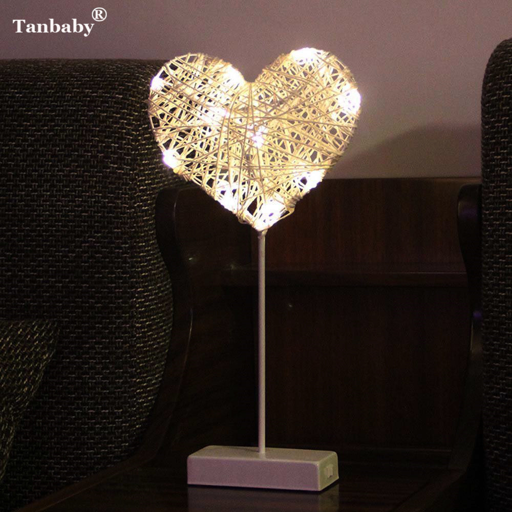 Tanbaby 40CM Star Heart Love Shape Grass Rattan Woven LED Night Light Battery Power Girls Room Romantic Decorative Table Lamp