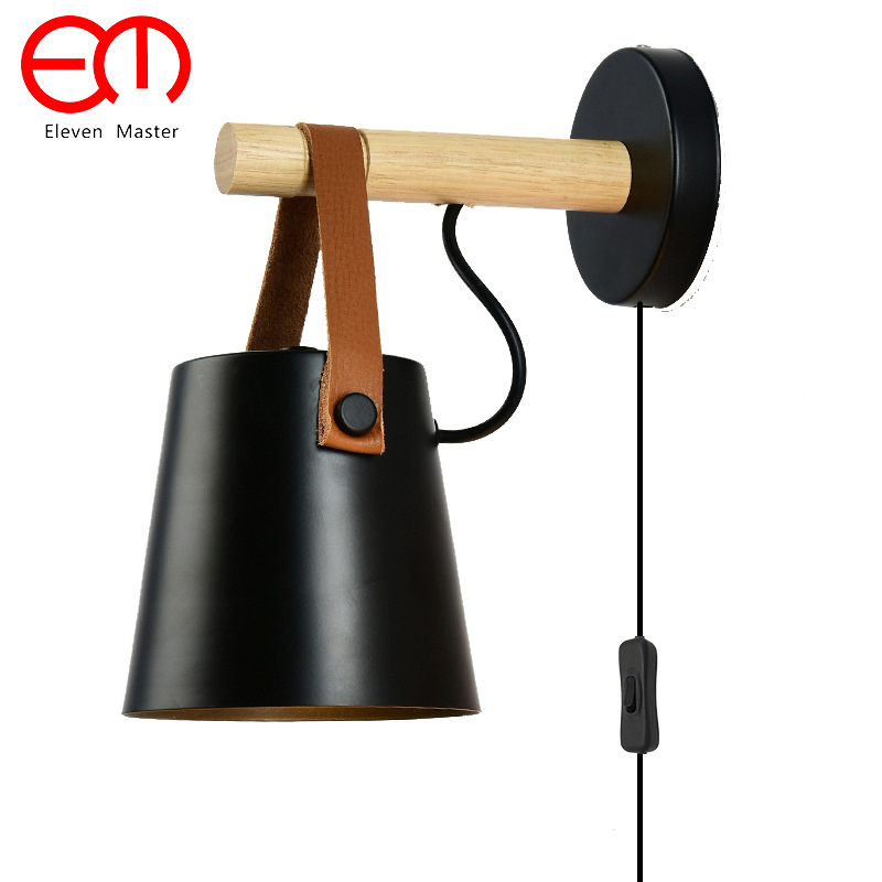 купить LED Wall Sconces Lamps with plug Living Room E27 Nordic Wooden belt Wall mounted Light Bedside Lamp Bedroom ZBD0102