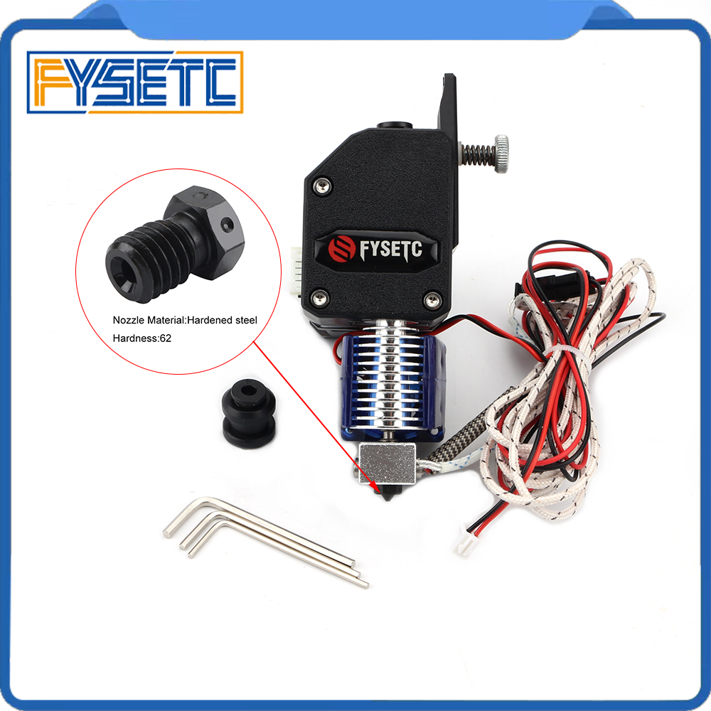 BMG Extruder V6 Hotend Dual Drive Extruder With PT100 Sensor Harden Nozzle For Wanhao D9 Creality CR10 Ender 3 Anet E10