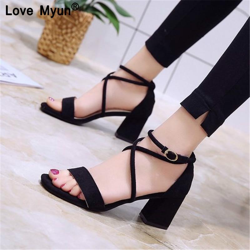 Women Sandals Summer Open Toe Women's Sandals Low Block Heel 5CM Women Shoes Black Blue Gladiator Shoes Ankle Strappy 777