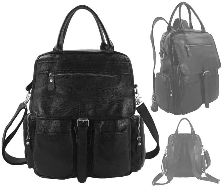 4USE 100% Genuine Leather Men Women s Backpack School Backpack Leather Women  Crossbody Bag Shoulder Bag tote 637c0df99fbdb
