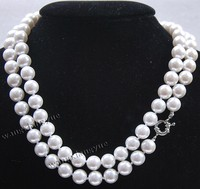 Free shipping@@@@@ 10mm Long 48 White South Sea Shell Pearl Round beads jewerly Necklace AAA