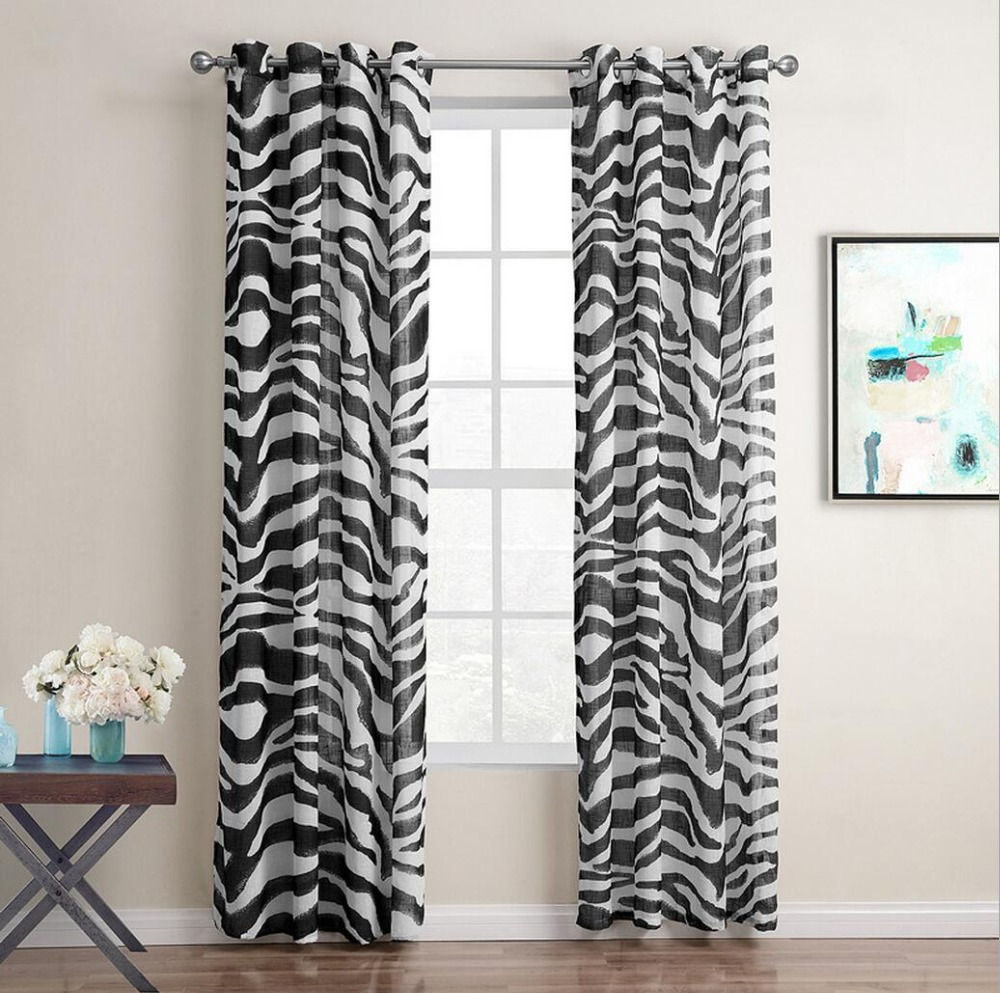 SunnyRain 1-Piece Zebra Stripe Sheer Curtain For Living Room Window Curtain For Bedroom Drape Top With Eyelets Punching