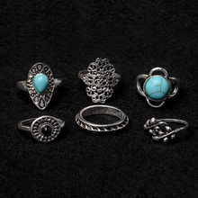 6pcs/set Women Bohemian Style Vintage Punk Rings Antique Sliver Hollow Finger Knuckle Stacking Midi Rings Set For Women Jewelry