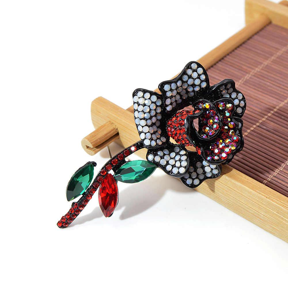 Cindy Xiang Penuh Berlian Imitasi Mawar Bunga Bros untuk Wanita Vintage Fashion Besar Bros Pin Mantel Musim Dingin Aksesoris Seksi Hadiah
