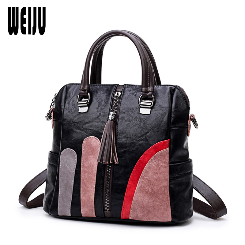 WEIJU Fashion Women Handbags Female Large Totes with Tassel Multifunctional Bags Women Crossbody Bag For Women PU Leather Bags