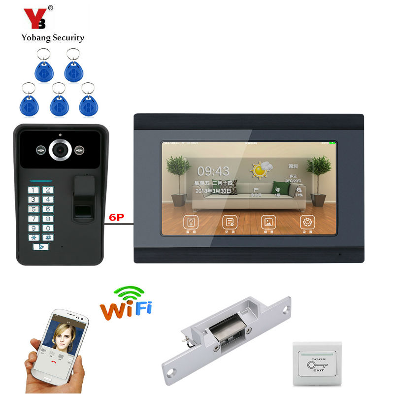 YobangSecurity Video Intercom 7 Inch LCD Wifi Wireless Video Door Phone Doorbell Camera Monitor System Android IOS APP Control