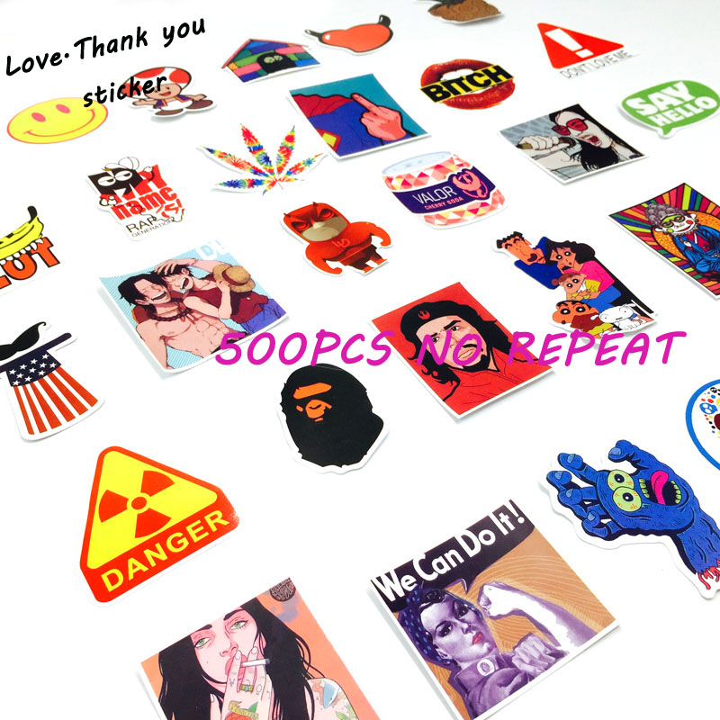 500 Pieces Do Not Repeat PVC Waterproof Fun Do Not Repeat Laptop Sticker The Luggage Stickers Handbag Decoration Stickers