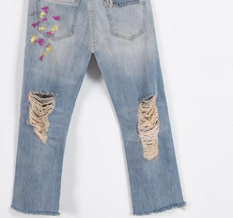 Весенне-летние повседневные женские джинсовые брюки с вышивкой бисером и рваными дырками, женские джинсовые брюки с потертостями и кисточками