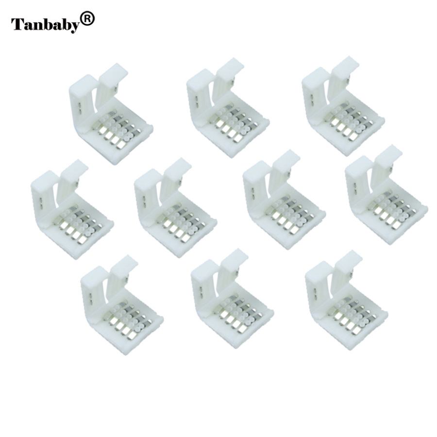 Tanbaby 10pcs/lot, 5pin LED Strip Clip, 5 pin RGBW RGBWW LED Strip Connector For 10mm width 5050 RGB+W RGB+WW Light Strips tanbaby 1pcs lot 10mm 4pin l shape led connector for 5050 rgb color led strip no welding strip connector for rgb strip light