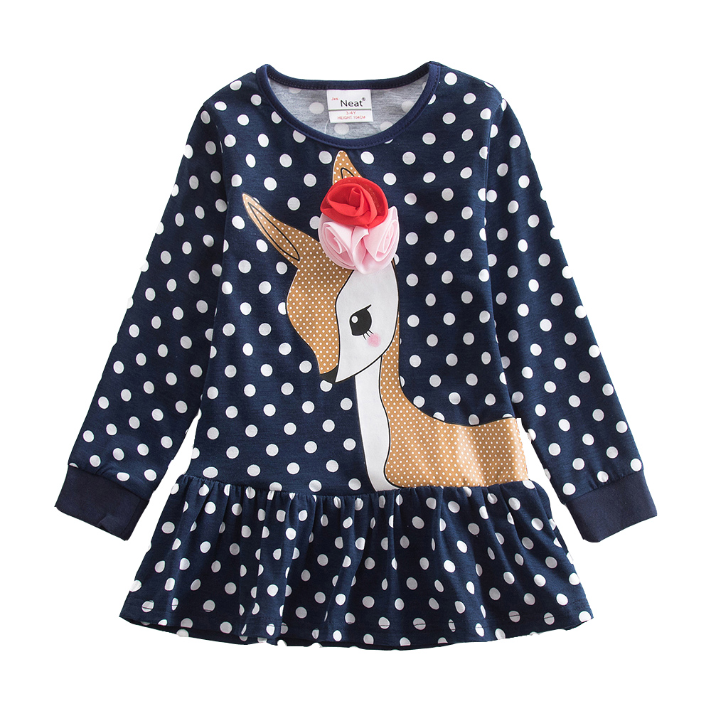 4-8Y Retail Kids Dress for Girl Toddler Clothes Children Clothing Animal Girl Dress Long Sleeve Cotton Princess Neat LH6496 neat brand retail baby girl clothes lovely dresses kids clothes girl party dress long sleeve 100