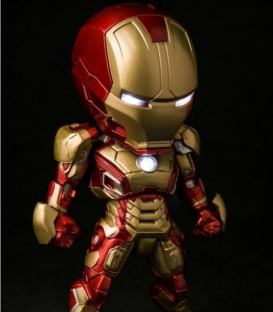 NEW Hot 15cm Q version Super hero avengers Iron man 3 light MK42 Action Figure toys Christmas gift with box