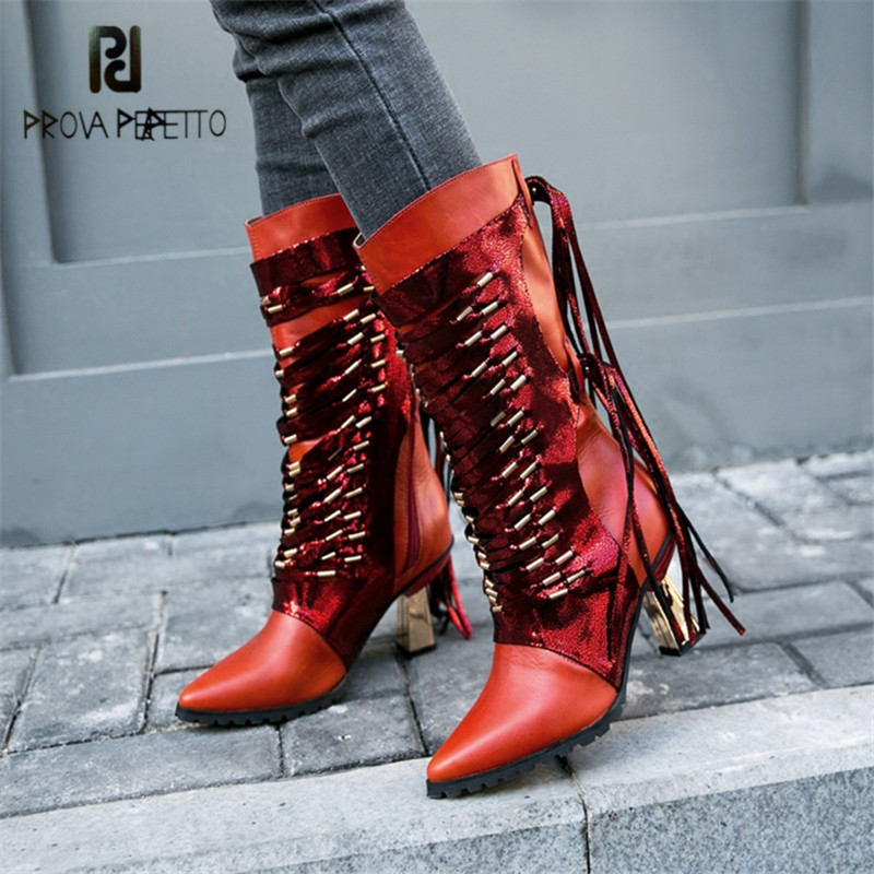 Prova Perfetto Sexy Red Women High Boots Fringed Pointed Toe Autumn Winter Boot Female Riding Boots High Heel Botas MujerProva Perfetto Sexy Red Women High Boots Fringed Pointed Toe Autumn Winter Boot Female Riding Boots High Heel Botas Mujer