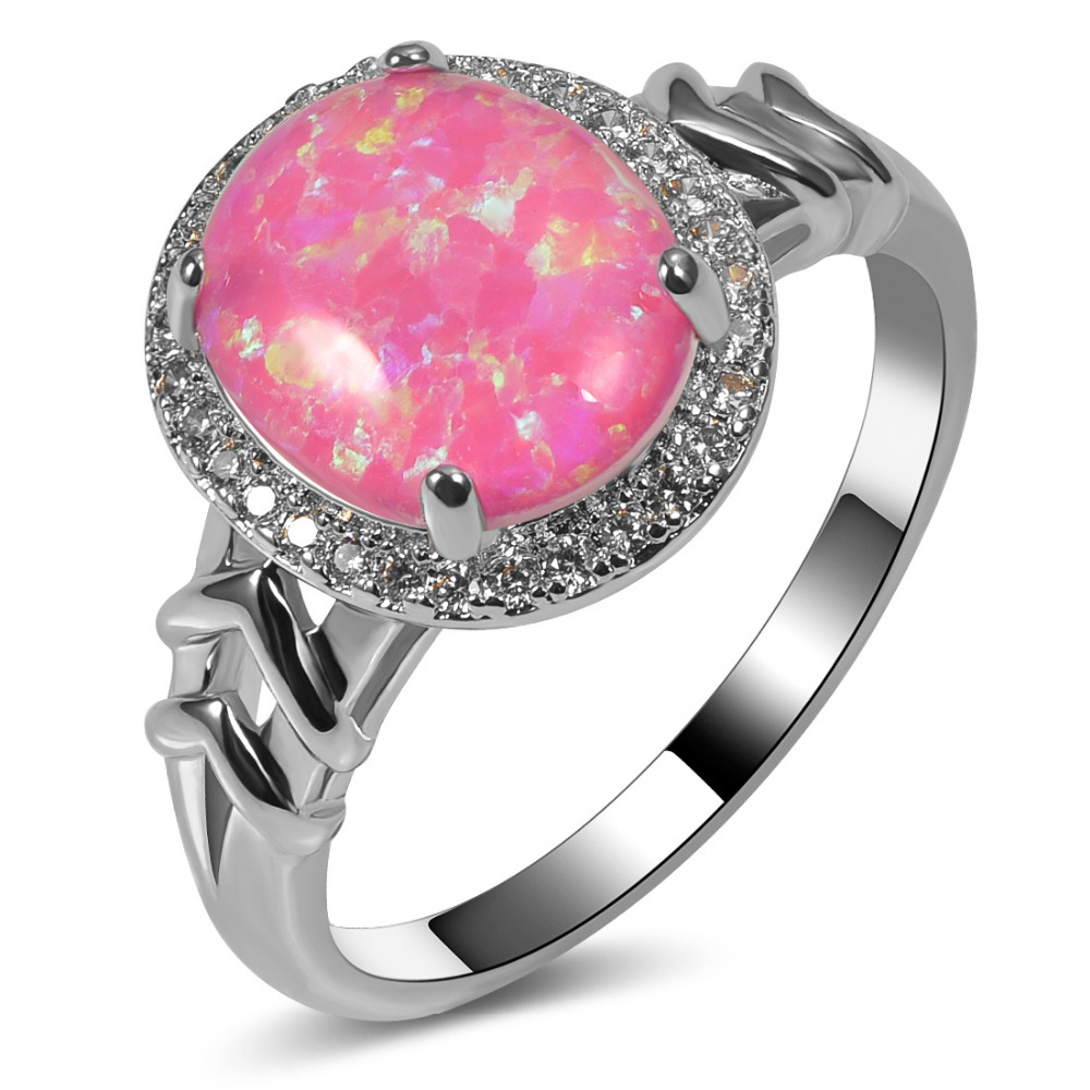 ⃝Hot Sale Exquisite Pink Fire Opal 925 Sterling Silver Engagement ...
