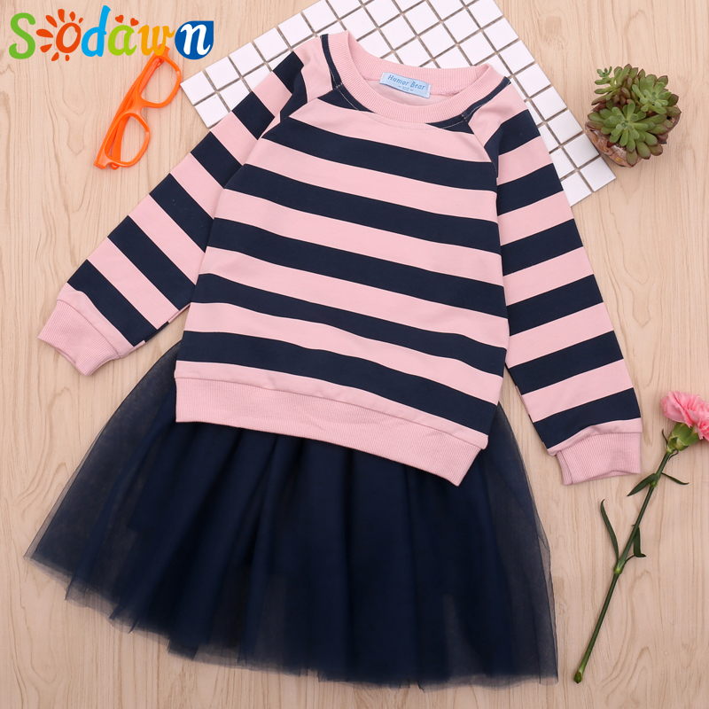 Clothing Sets Mesh Dress 2pcs Girls Clothes Baby Kids Clothing Suit Good For Energy And The Spleen Collection Here Sodawn 2019 Spring Autumn Children Clothing Striped Long-sleeved T-shirt