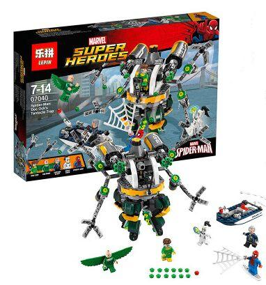 07040 Marvel Super Heroes Spiderman Tentacle Trap Building Blocks figureblock Avengers compatiable With brand