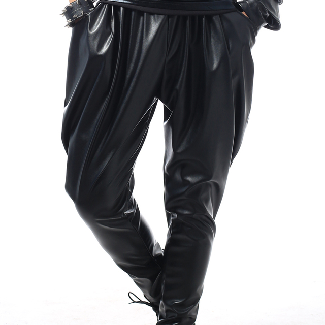 Best version, New Fashion Brand Hip Hop personality Performance sweatpants Male Trousers stage Faux Leather Harem pants