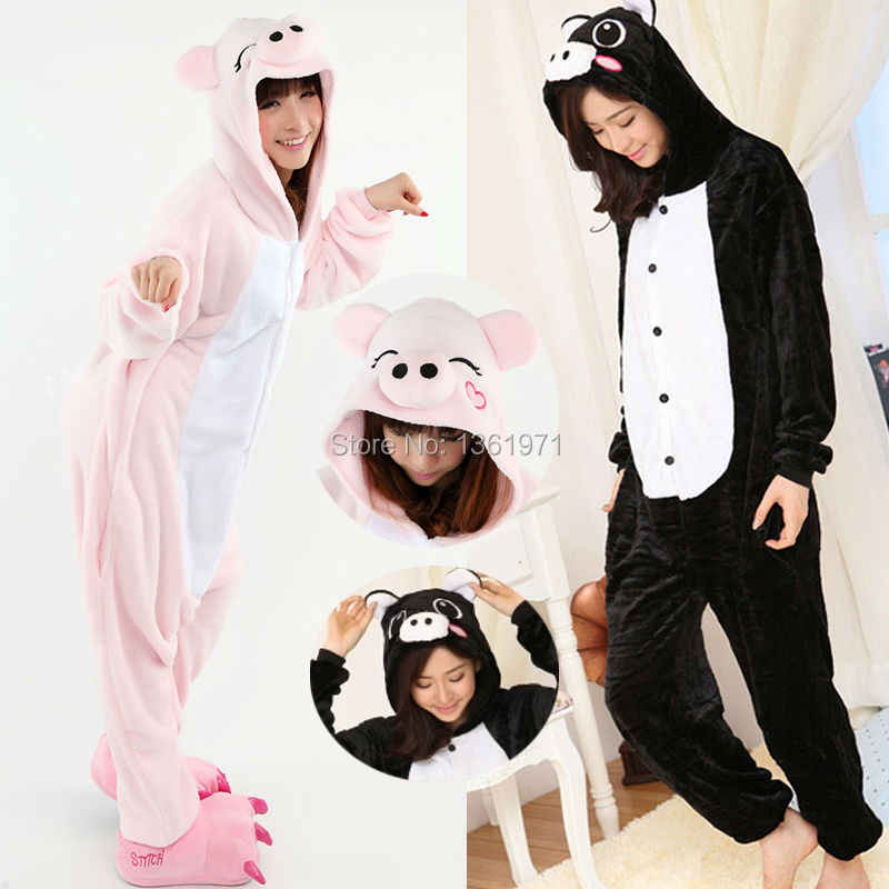 HKSNG зима Для женщин взрослых животных розовый черный Свинья Пижама  Kigurumi Комбинезоны Толстовка домашний костюм косплей 4ad35adb04daf