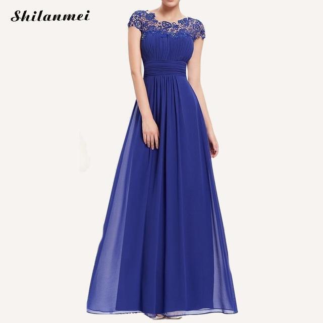 d565877e222d Vestidos de Fiesta largos formales para mujer siempre bonitos 2018 verano  manga de encaje moda gasa Maxi vestido elegante vestido de Mujer Vestidos