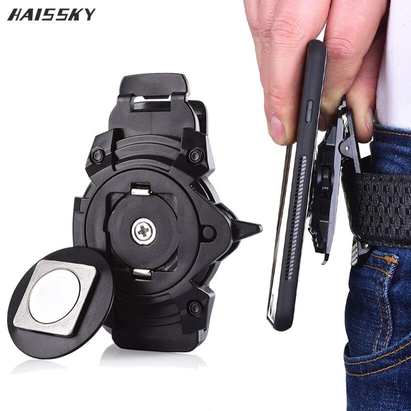 Universal Waist Clip Vertical Holder Magnet Buckle Lock Waist Belt Clip For IPhone 11 Pro X XR XS Max 7 8 Plus Samsung S20 Ultra
