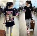 2016 Tarajuku moda de rua moda Casual solta de algodão de manga curta Plus Size Tops dos desenhos animados Side dividir