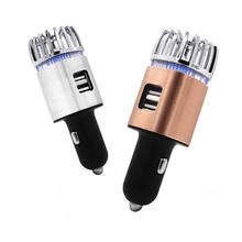 USB car phone charger auto air purifier cell charging 2in1 JC1F multi point pulse tip technology oxygen anion refresher