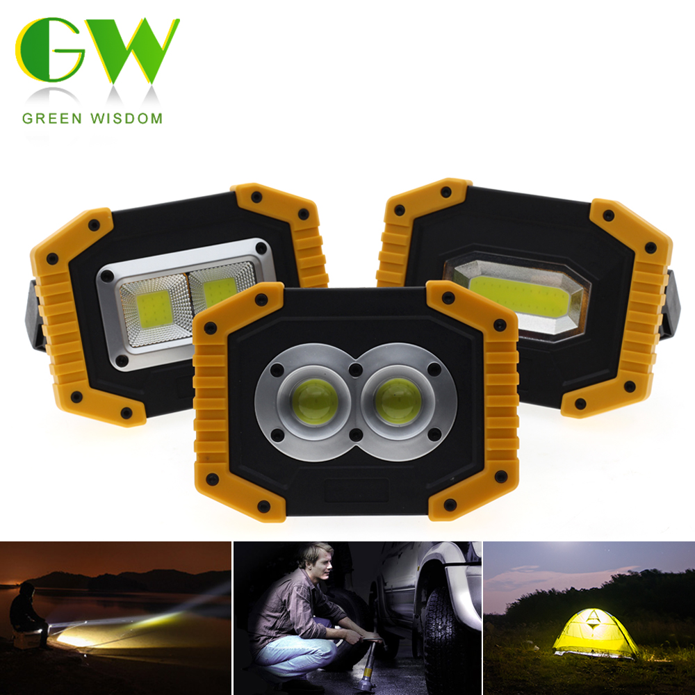 20W COB LED Portable Lantern Work Lamp Tent Light Emergency Torch Camping Portable Spotlight Rechargeable Floodlight For Outdoor