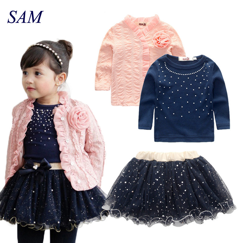 Free shipping 2017 spring baby girls clothing sets 3 pieces suit girls flower coat + blue T shirt + tutu skirt girls clothes 2016 brand new high quality fashion girls clothing sets bow hoodies flower mini tutu skirt 2pcs autumn spring baby kids clothes