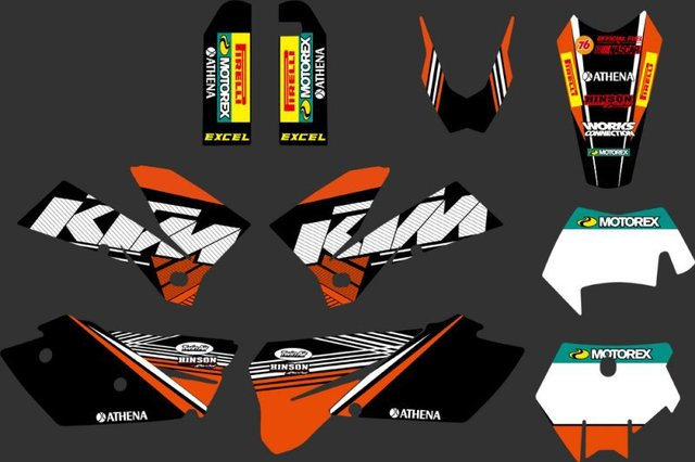 0270 Orange &Black NEW TEAM  GRAPHICS WITH MATCHING BACKGROUNDS FIT FOR KTM SXF MXC SX EXC Series 2005 2006 2007