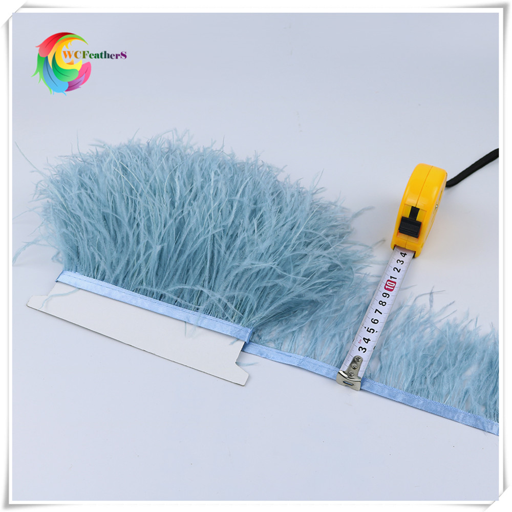 1meters High Quality Real Ostrich Feather Trims 8 10cm for Skirt Dress Costume Ribbon Feather Trimming DIY Party Craft in Feather from Home Garden