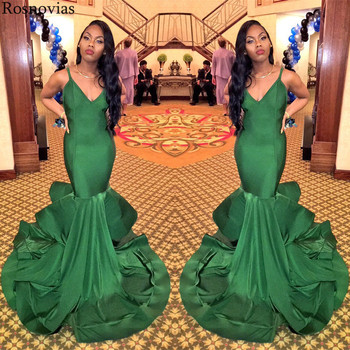 2019 Arabic Plus Size Evening Dresses V Neck Backless Sweep Train Prom Party Dresses Formal Gowns Mermaid Evening Dresses Long