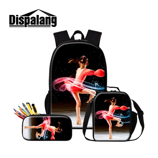 Dispalang Ice Skating Women Backpack 3pcs Sets School Bags for Teenagers  Printing Backpack With Cooler Bags and Pencil Case-in Backpacks from Luggage    Bags ... 6fba607c3a476