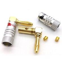 8 50 adet HIFI sağ açı muz fiş altın kaplama müzik hoparlör tel kablo konektörü 4mm HiFi