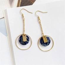 Fashion 2018 circular geometric earrings Acetate plate color sky blue  women Drop spring shiny jewelry