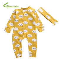2017 Baby Romper Set Cute Yellow Cloud Smile Infant Newborn Baby Kids Girls Boys Jumpsuit Heaband